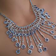Vintage Designer Austrian L Sapphire Blue  AB Rhinestone Drippy Feston Necklace