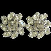 Vintage Bejeweled Crystal Rhinestone Clip-On Earrings