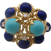 18kt Persian turquoise and enamel ladies ring