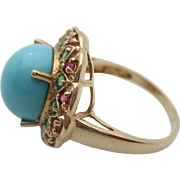 14kt Persian turquoise,emerald and ruby ladies ring