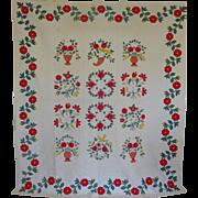 Quilt Baltimore-style Applique Quilt Birds vases flowers c1950