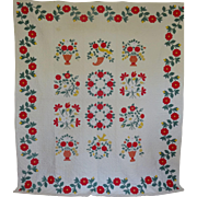 Quilt Baltimore-style Applique Quilt Birds vases flowers c1950