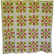 Quilt ~19th c Red, Green, White Applique Oak Leaf theme