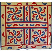 Quilt ~ Plumes, Moons Stars Red White & Blue and Vibrant  a-c-t-i-o-n !
