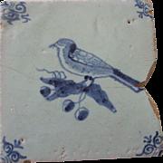 SALE Antique Delft Tile Bird and Grapes
