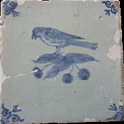 SALE Antique Delft Tile Bird and cherries