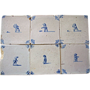 SALE Antique Delft Tiles 6 pieces  17th c. people playing