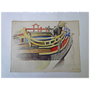 SALE William J. Aylward Watercolor--Ship Hull & figurehead