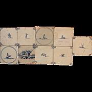 SALE Delft Tiles 9pcs. not perfect c. 1700's ~ 1800's