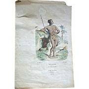 SALE Print ~Jeune Sauvage (Christophe Colomb.) Paris 1854
