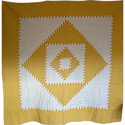 SALE Vintage Sawtooth Quilt - Cheddar Yellow & White  EXC