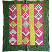 SOLD 1800's Child's quilt ~ Baskets great colors!