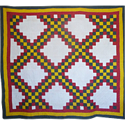 SALE Old Quilt  Irish Chain--B O L D & zingy!
