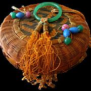 Vintage Chinese Sewing Basket - Pekin beads - Small