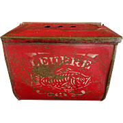 SOLD Old French Tole Bait Box with Fish decoration