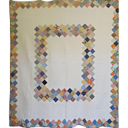 "SOLD 1940's Quilt - Boston Commons in feedsack prints 75""x85"" - Red Tag Sale Item"