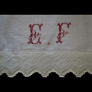 SALE Hand-woven Linen Runner w/pretty initials crocheted lace