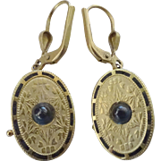 1800's Earrings ~Sapphire Cabochons, Enamel, etched 14K gold