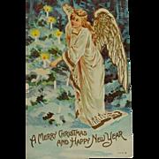 SALE Old Postcard Angel lighting candles Christmas /New Year