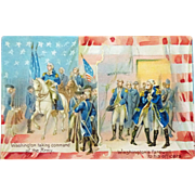 SALE old Postcard Washington taking Command and Farewell