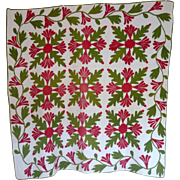 SOLD 1800's Crib Quilt Applique Mexican Rose family- youth quilt, baby quilt