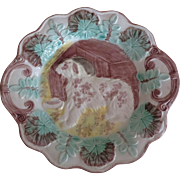 Charming Dog Plate ~ Majolica - old