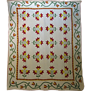 N C Lily Quilt - Applique Red Green Yellow  c. 1860 ZigZags