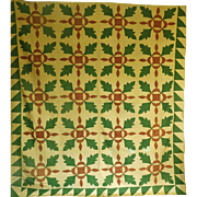 SALE Applique Oak Leaf Cheddar Quilt Top c. 1860