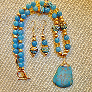 REDUCED Handcrafted Ocean Blue Variscite Pendant, Grace Lampwork Beads, Blue Chalcedony and Ci