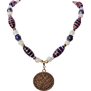 REDUCED African Trade Cobalt Feather Beads and Krobo Beads with Brass Necklace