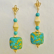 REDUCED Artisan Mosaic Turquoise and 20K Gold Vermeil Dangle Earrings