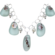 SALE Seafoam Sea Glass and Charms with Freshwater Pearls on Sterling Chain Necklace