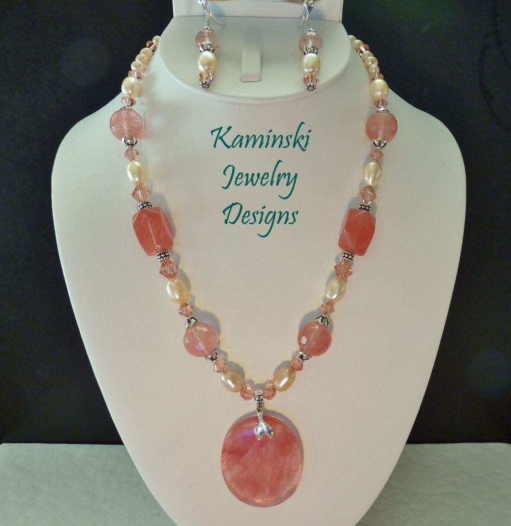 Cherry Quartz Peach Cultured Freshwater Pearls and Swarovski Crystals Sterling Necklace and Earring Set