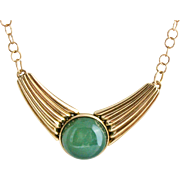 SALE Bronze Festoon Pendant with Green Agate Cabochon on Bronze Chain Necklace