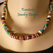 REDUCED Handcrafted Southwestern Purple Spiny Oyster with Multi Colored Gemstone Beads and Ste