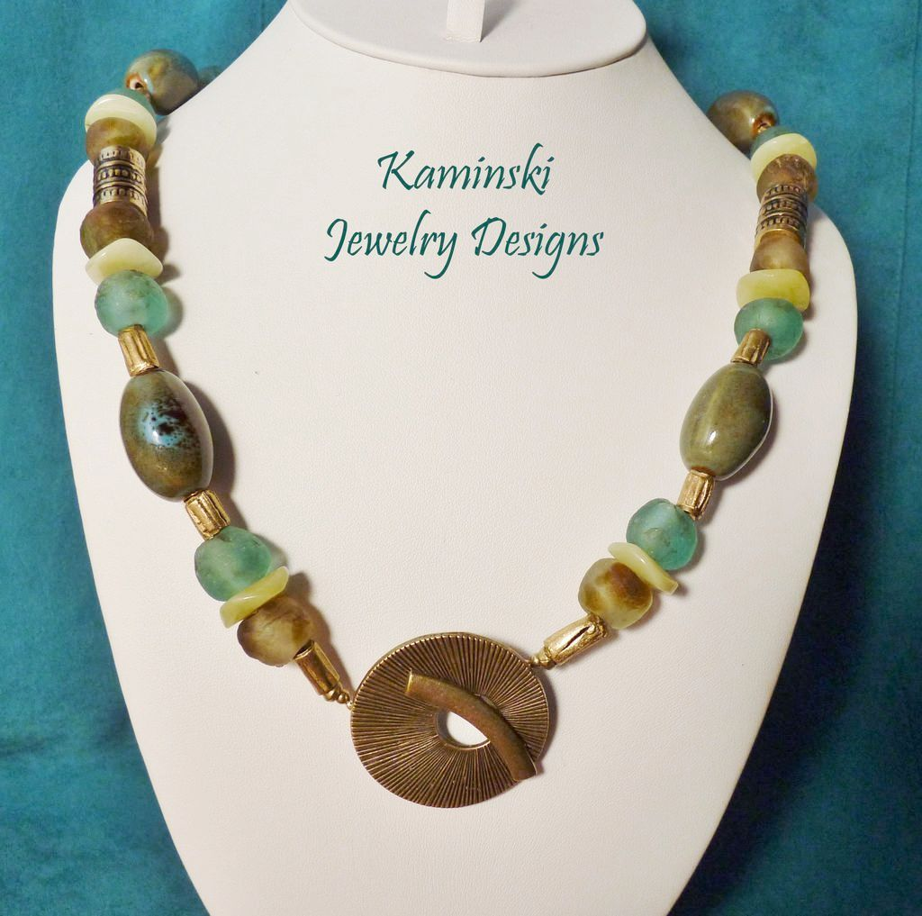 Handcrafted Green and Bronze African Beads and Brass Necklace