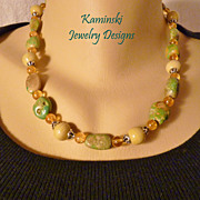 Artisan Handcrafted Green Turquoise and Citrine Sterling Necklace