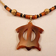 SOLD Handcrafted Men's or Women's Golden Amber Horn Turtle Pendant and Brass African ...