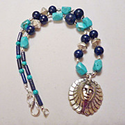 REDUCED Egyptian Queen Pendant Lapis and Turquoise Silver Necklace