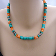 REDUCED Southwestern Turquoise and Orange Spiny Oyster Sterling Necklace