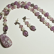 Handcrafted Light Amethyst Natural Druzy Pendant and Beads, Swarovski White Crystal Pearls  Sterling Necklace and Earring Set