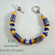 SALE African Trade Beads and Silver Bracelet