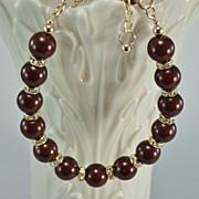 SALE Maroon Swarovski Crystal Pearls and Crystal Rondelles Gold Filled Bracelet
