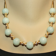 Handcrafted  Apple Green Natural Jadeite Jade and Gold Filled Necklace