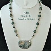Handcrafted Moss Agate Pendant and Beads Sterling Necklace