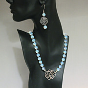 Handcrafted Silver Flower Connector and Opalite Necklace and Earring Set