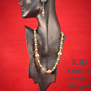 Artisan Bronze Swarovski Crystal Pearls and Austrian Crystals Bronze Necklace and Earrings Set
