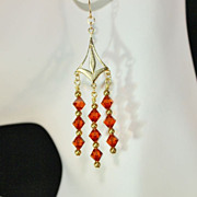 SALE Handcrafted Red Magma Swarovski Crystals and Brass Chandelier Earrings