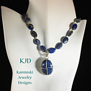 Denim Lapis Pendant and Beads Sterling Necklace`