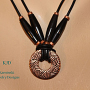Artisan Tribal Copper Amulet Pendant Horn Beads and African Copper on Black Leather Cord